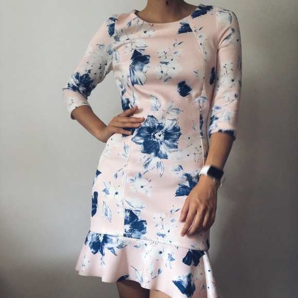 f8e2fee0 Zara light blue and pink floral dress. M_5b70ad7b45c8b34aca04b3f3